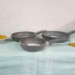 Tris di padelle alluminio varie misure 18/22/26CM made in Italy no tossiche