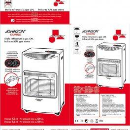 Johnson Stufa a gas GPL infrarossi con piezo 3 mattoni regolatore e tubo inclusi
