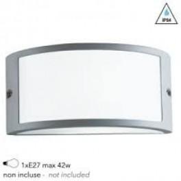 I-AUSTIN-AP SIL - Applique Esterna Profilo Alluminio Silver Diffusore Policarbonato E27