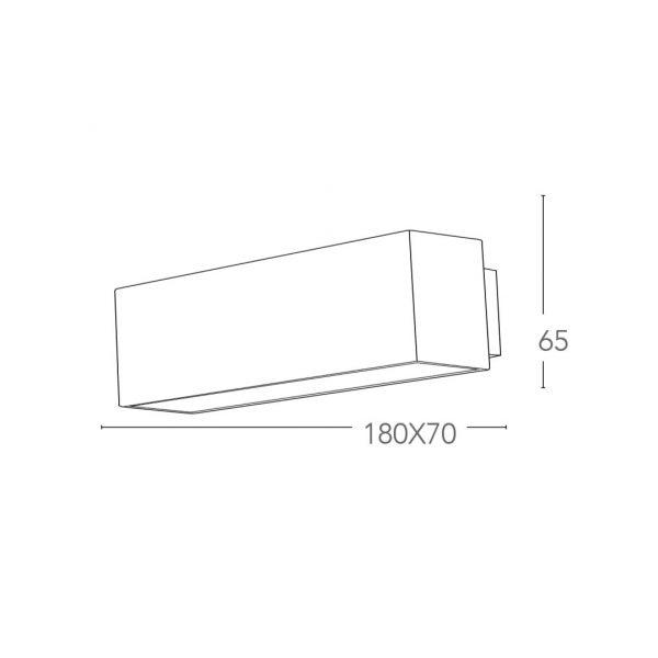 Applique Alluminio Nero Emissione Luminosa Superiore e Inferiore Led 6 watt Luce Naturale Intec LED-W-AGERA-90