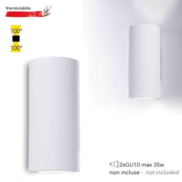 Applique in GESSO BANJIE Bianco BIEMISSIONE  di Luce 2xGU10 I-BANJIE-S-AP